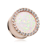 A Pair of Rose Gold Opal Elegance Multi-Gem Ear Gauge Plug
