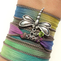 Colorful Silk Wrap Bracelet Yoga Jewelry Boho Chic Dragonfly Hippie Bohemian Unique Gift For Her Birthday Under 50 Item V52
