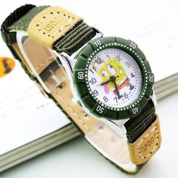 Fashion Brand Cartoon casual cloth art Children Canvas Clocks Kids Girls Boys Spongebob squarepants quartz sports Wrist Watches