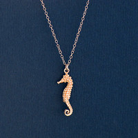 10% off - Sterling silver seahorse charm pendant necklace
