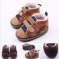 2015 Cool Winter Newborn Baby Shoes Warm First Walker Infants Boys Antislip Bebe Boots Shoes