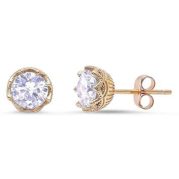 Sterling Silver 7mm Round CZ Fancy Crown Set Stud Earrings - Yellow Gold