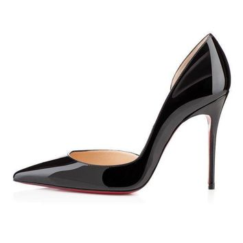 DCCK2 christian louboutin cl iriza black patent leather 100mm stiletto heel classic