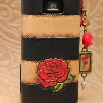 Black and White Rose Leather Vaping Vape Sleeve Case Wrap for  iTaste MVP