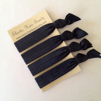 4 Solid Black Hair Ties Ponytail Holders