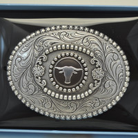 Nocona Oval Longhorn Belt Buckle