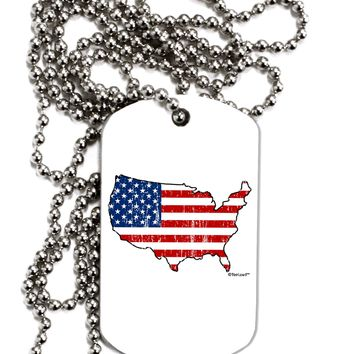 United States Cutout - American Flag Distressed Adult Dog Tag Chain Necklace by TooLoud