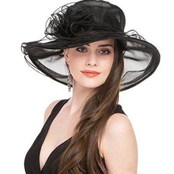 Saferin Women Kentucky Derby Church Dress Organza Hat Wide Brim Flat Hat Black