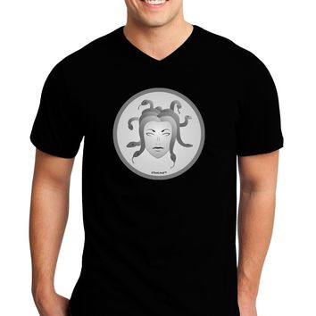 Medusa Head Coin - Greek Mythology Adult Dark V-Neck T-Shirt by TooLoud