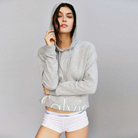 """Fashion """"Calvin Klein"""" Letter Print Hooded Long Sleeve Pullover Tops Sweater"""
