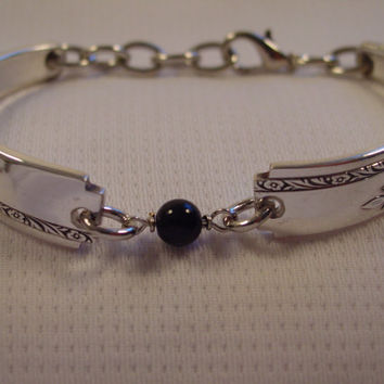 A Pretty Spoon Bracelet Grenoble Pattern With Black Bead Handmade Spoon and Fork Jewelry b51
