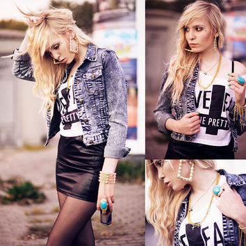 Jfr Crosses Necklace, Forever21 Jeans Jacket, H&M Fake Leather Skirt, Prettysucks Short Tee, Primark Ring, Earring, Primark Bracelet //    Live fast, die pretty ! by Lina Tesch // LOOKBOOK.nu