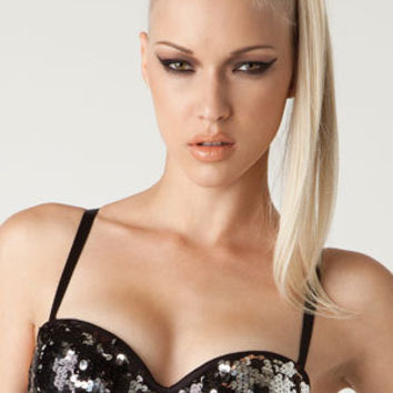 LA ROXX multi colored sequin buresque push up bra