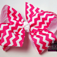 Chevron Hair Bow Boutique Bow Fuchsia Pink 4in or 5in