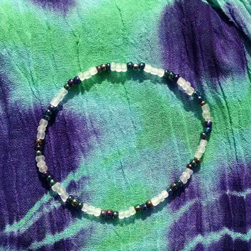 Dark Iridescent Rainbow and Icy Frosted Glass Beaded Stretch Anklet Boho Punk Hippie Women's Fashion Bubble Goth Ankle Bracelet
