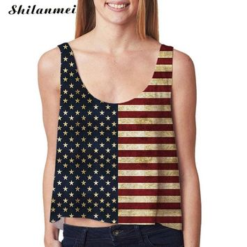 Fourth of July 4th Blouse feminino Summer 2017 Causal USA stripe Flag print Crop Top Women Tank Tops Mujer vest shirt Sweatshirt