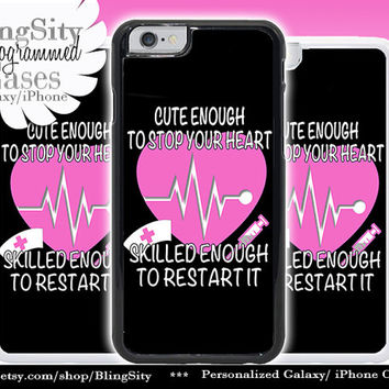 Nursing Nurse Iphone 6 Plus Case Black Cute Skilled Heart EKG Funny Iphone 4 4s 5 5C Ipod Touch Cover LPN RN Medical