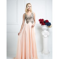Peach Pink Illusion V-Neck Long Dress 2016 Prom Dresses