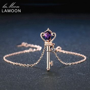 LAMOON Crown Key 6x4mm 0.4ct Natural Teardrop Amethyst 925 Sterling Silver Jewelry Rose Gold Plated S925 Charm Bracelet LMHI024