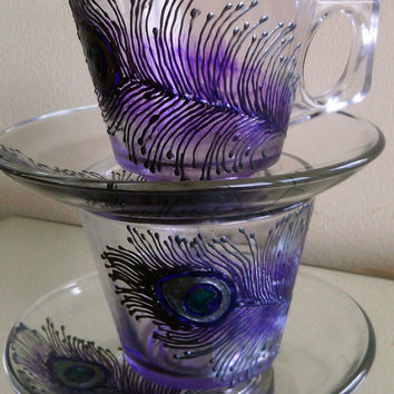 Set of 2 Hand Painted tea coffee glasses cups Peacock feathers in silver and purple