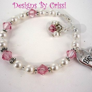 Big Sister Little Sister Swarovski Bracelet, charm, sterling silver, swarovski pearl pink crystals or choose your colors, new baby