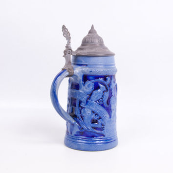 Vintage German Beer Stein Cobalt Blue Tankard High Relief Stoneware Pewter Lid Hand Painted Ornate Mug Collectable Barware