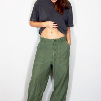 Vietnam War Military Pants, Army Green Trousers, DSA-100, 1960s Military Issue, Small Medium, Size 30