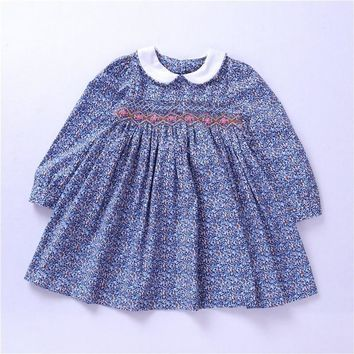 Lovely Classic Smocked Girls Floral Dress with Peter Pan Collar