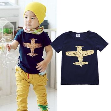 Newest Summer Baby Boy T-shirt Kids Short Sleeve Fighter Printing Blue T-shirt Tops Toddler Summer Clothes For Brave Boys