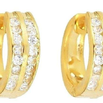 14k Y. gold layer Brilliance two row Channel set CZ Hoop Huggie Silver Earring