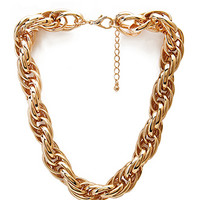 FOREVER 21 Metal Muse Chain Collar Gold One