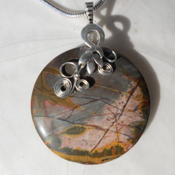 Picasso Jasper Pendant by elainesgems on Etsy