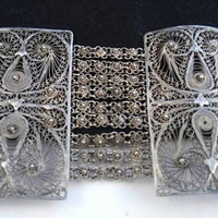 Now On Sale Vintage 800 Sterling Silver 2 1/2 Inch Wide Bracelet - 1940's Ornate Made In Egypt Signed Jewelry