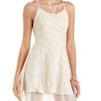 Floral Embossed Skater Dress by Charlotte Russe