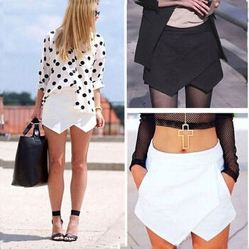 Fashion Women Asymmetrical Career Tiered Culottes Skorts Shorts Hot Pants Wrap Mini Skirts(White,BlackSize S-XXL) = 1945972740