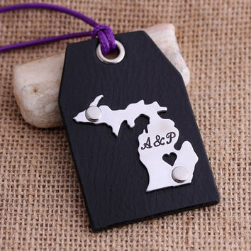 Custom Leather Luggage Tags - Michigan Luggage Tags - State Map Luggage tag - Can be made with any Countries or States