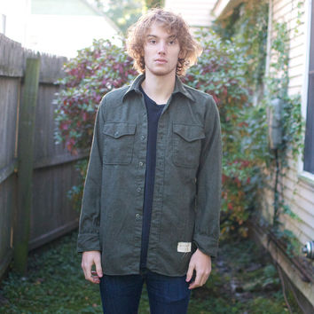 Vintage Forest Green Wool Military Flannel Shirt