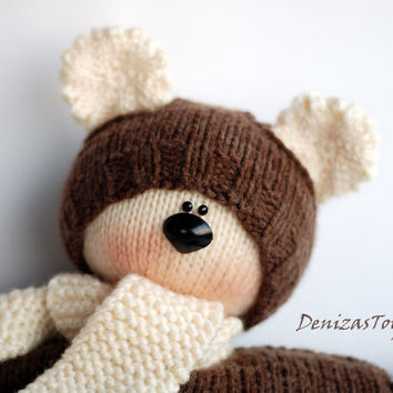 Waldorf knitted Bear  doll for small babies - pdf knitting pattern