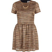 Brown Chelsea Girl necklace skater dress