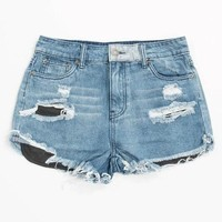 Fiji Cut Off Distressed Denim Shorts - Denim