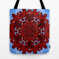 Red maple leaves and blue sky botanical mandala Tote Bag by RVJ Designs