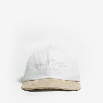 Washed Canvas Hat with Suede Brim in Off-White