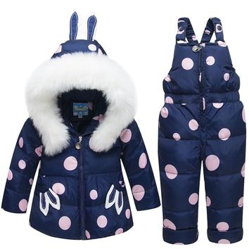 Dulce Amor Winter Kids Down Jacket Set Baby Warm Thick Duck Down Coat+Romper 2PCS Outerwear Boys Girls Skiing Suit Snowsuit