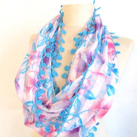 Christmas gift -Chiffon scarf-Infinity scarf-Gift-Circle Infinity Scarves-asuhan-Loop Scarf-mint green scarf tulle scarf