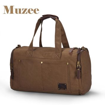 Muzee Travel Bag Large Capacity Men Hand Luggage Travel Duffle Bags Canvas Weekend Bags