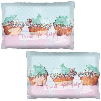 Treat Yo Self Cupcakes Pillow Case Set of 2