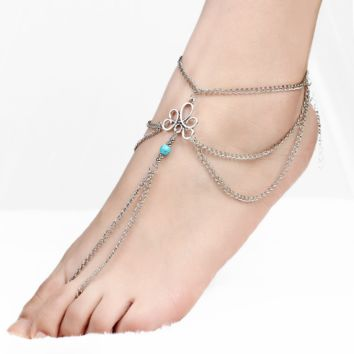 Fashion simple retro hollow pattern turquoise beaded tassel even the beach anklet