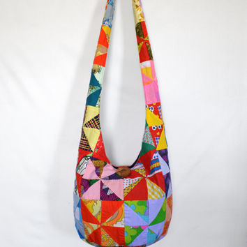 Sling Bag, Hobo Bag, Vintage, Patchwork, Retro, Patchwork Squares, Psychedelic, Stripes, Floral, Boho Bag, Hippie Purse