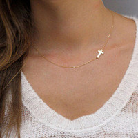 Gold/Silver Chain Cruz Necklaces For Women Cross Choker Necklace Love Jesus Pendants Collier Femme Colares mujer,Gift Jewelry