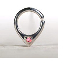 Opal Septum Ring Nose Ring Body Jewelry Sterling Silver with Pink Opal Bohemian Fashion Indian Style 14g 16g - SE034R SS OP42